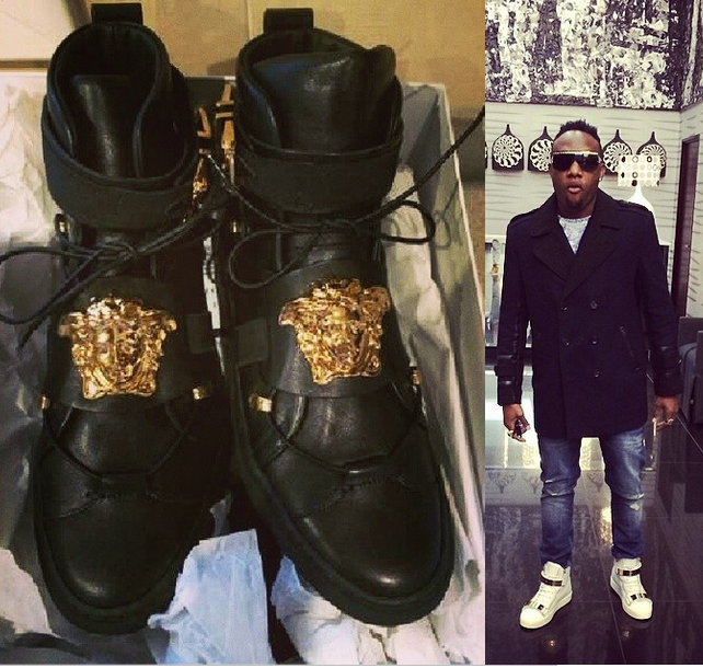 Kcee shows off his 200k Versace sneakers