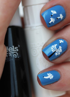 Dandelion nail art with Models Own Nail Art Pens