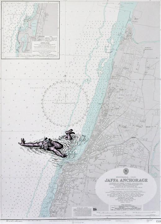 Seascape 24, 2011. Navigation map, acrylic on canvas, 70 x 50 cm