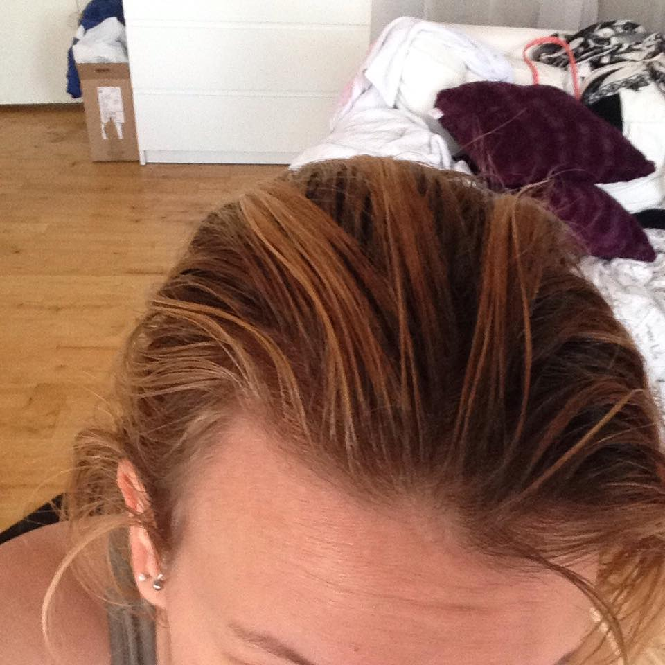 mes cheveux avant application mes racines sont brunes oranges - Belle Color Blond Cendr