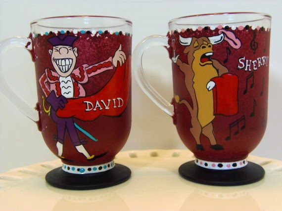 Bullfighter and Bull Painted Custom Coffee Mugs via kudoskitchenbyrenee.com