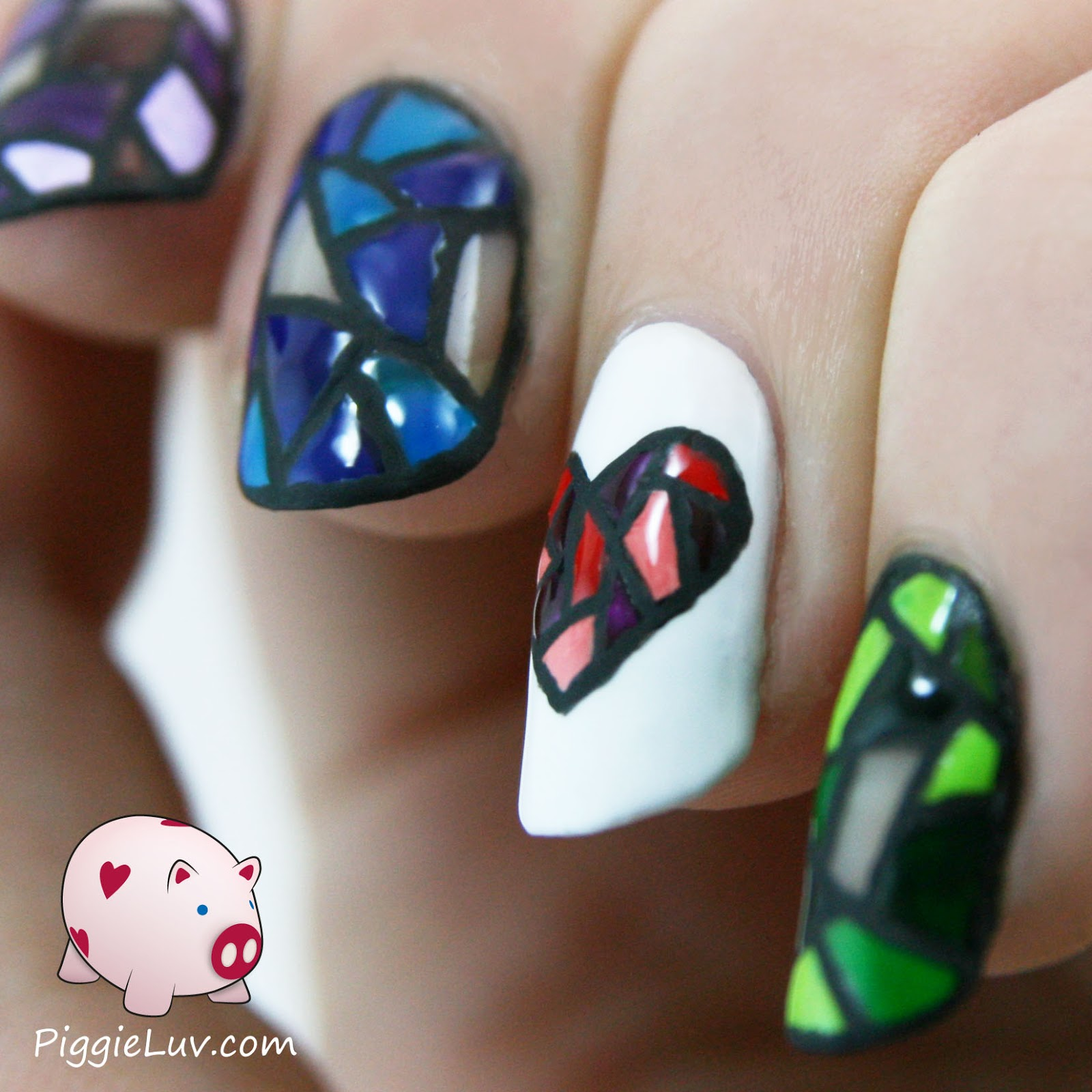 PiggieLuv: Stained glass twin nails!