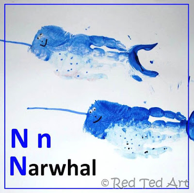 Letter L Craft: Handprint Narwhal