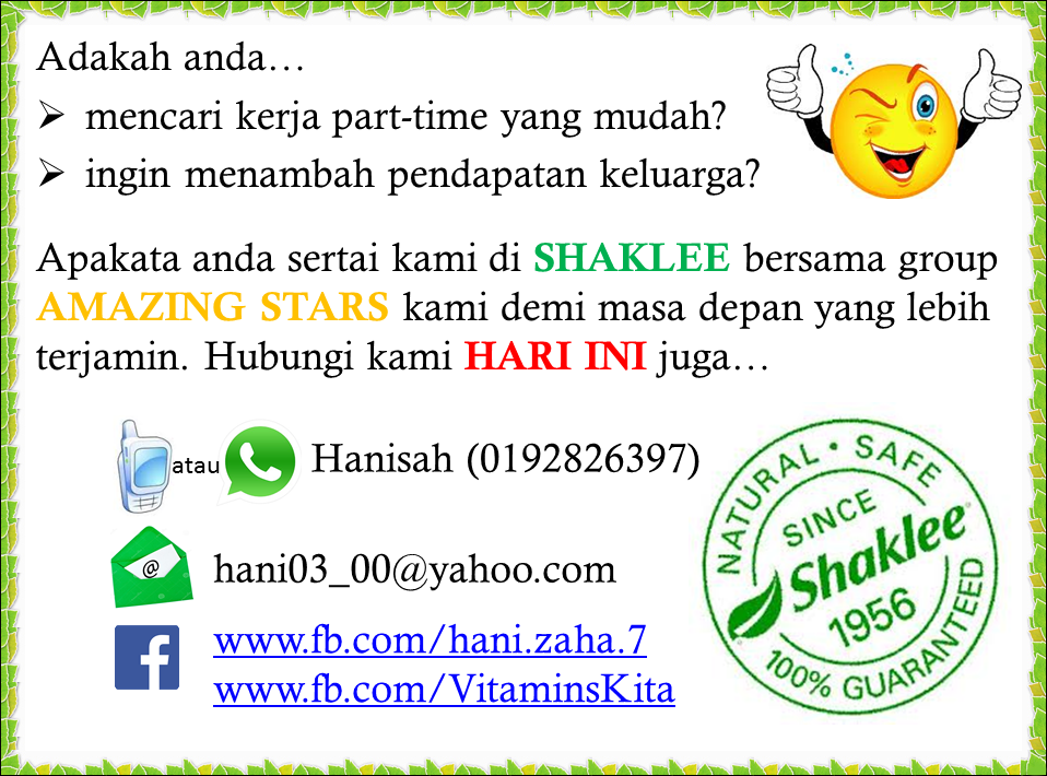tambah pendapatan dengan shaklee malaysia