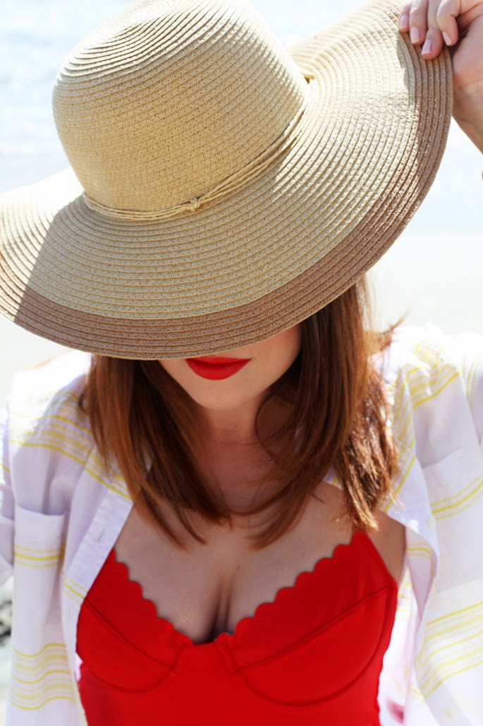 nars heatwave lipstick, beach hat, fashion blogger, red bathing suit