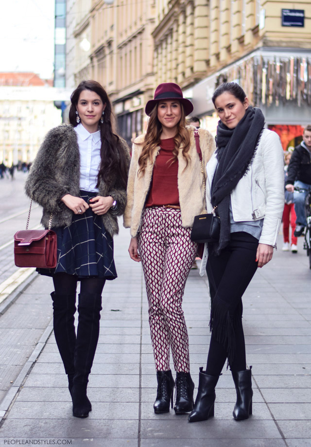 simple stylish dressing: The list of 10 popular street style fashion in winter 2014/15 1. Over the knee boots 2. Sneakers 3. Leather look leggings  4. Mini bags 5. Bucket bags 6. Faux fur coats 7. Faux fur collars 8. Fedora hats 9. Fringes 10. Ankle boots