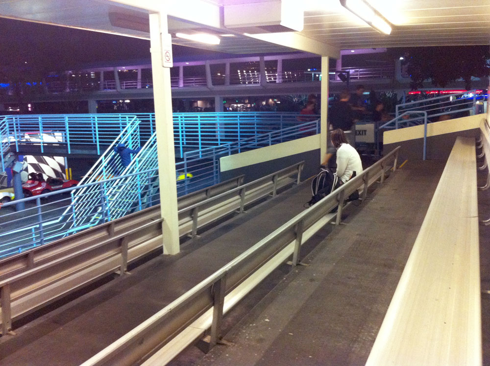 The Tomorrowland Speedway Grandstand is almost always empty