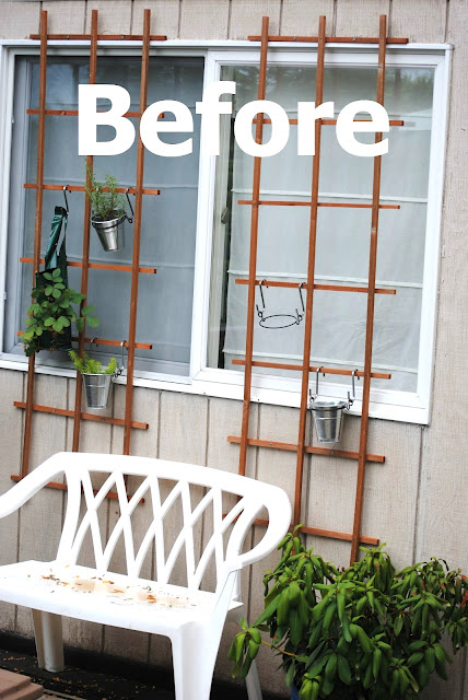 A lovely vertical herb garden trellis wall to dress up your windows, by making Lemonade, featured on I Love That Junk - the before (click post for the after!)
