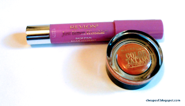 Revlon Just Bitten Kissable Balm Stain in Darling, Maybelline Color Tattoo in Fierce and Tangy