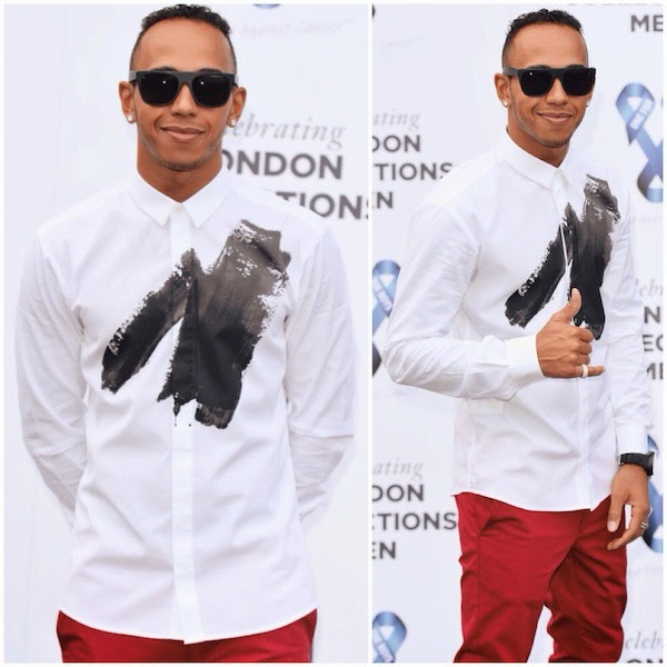 Lewis Hamilton in Hugo Boss Evis black paint stroke shirt at One For The Boys Charity Ball hosted by Samuel L. Jackson during London Collections- Men Spring Summer 2015 on 15 June 2014.jpg