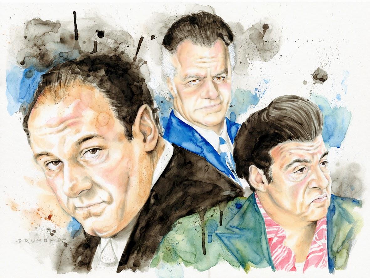 Ilustração Aquarela de The Sopranos por Drumond