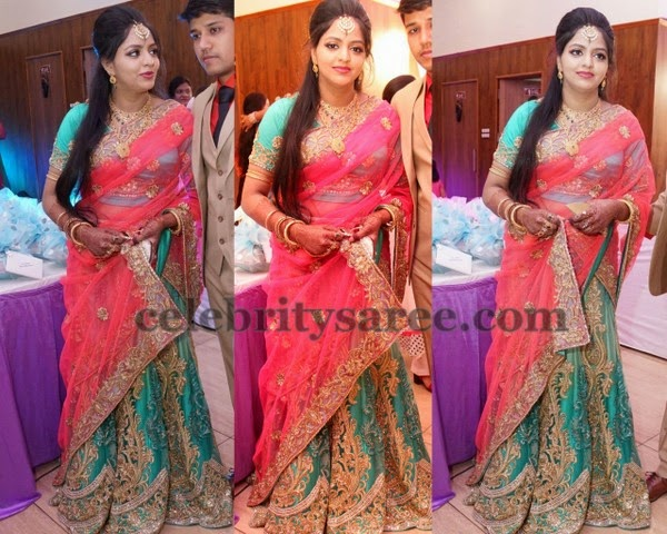 Cut Work Sea Green Half Saree