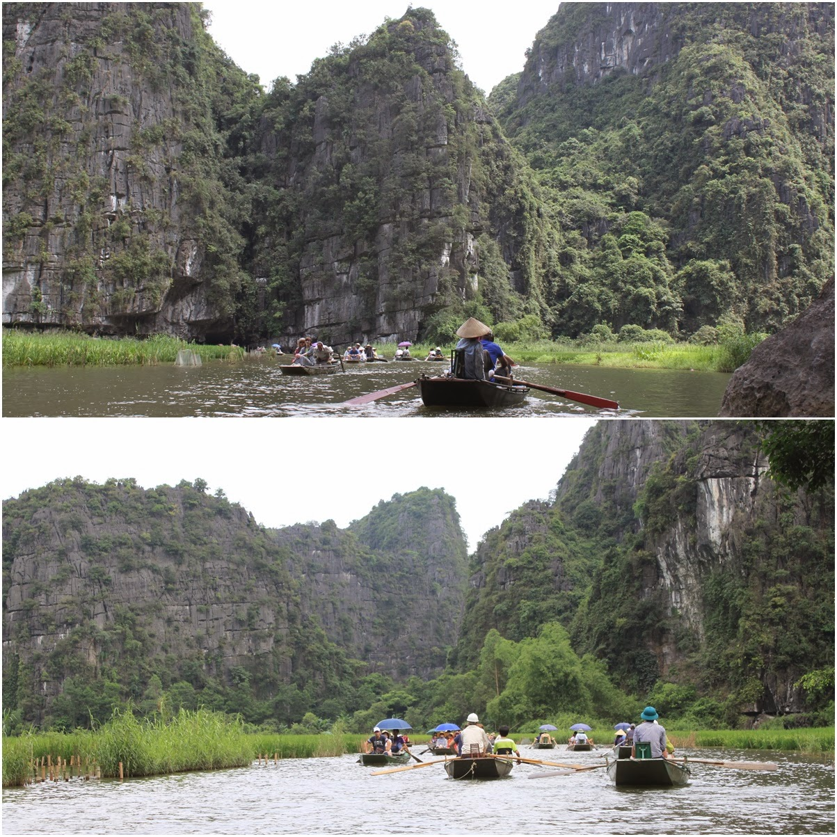 The beautiful scenery view of heading back to the river port at Tam Coc near the city of Ninh Bình in northern Vietnam