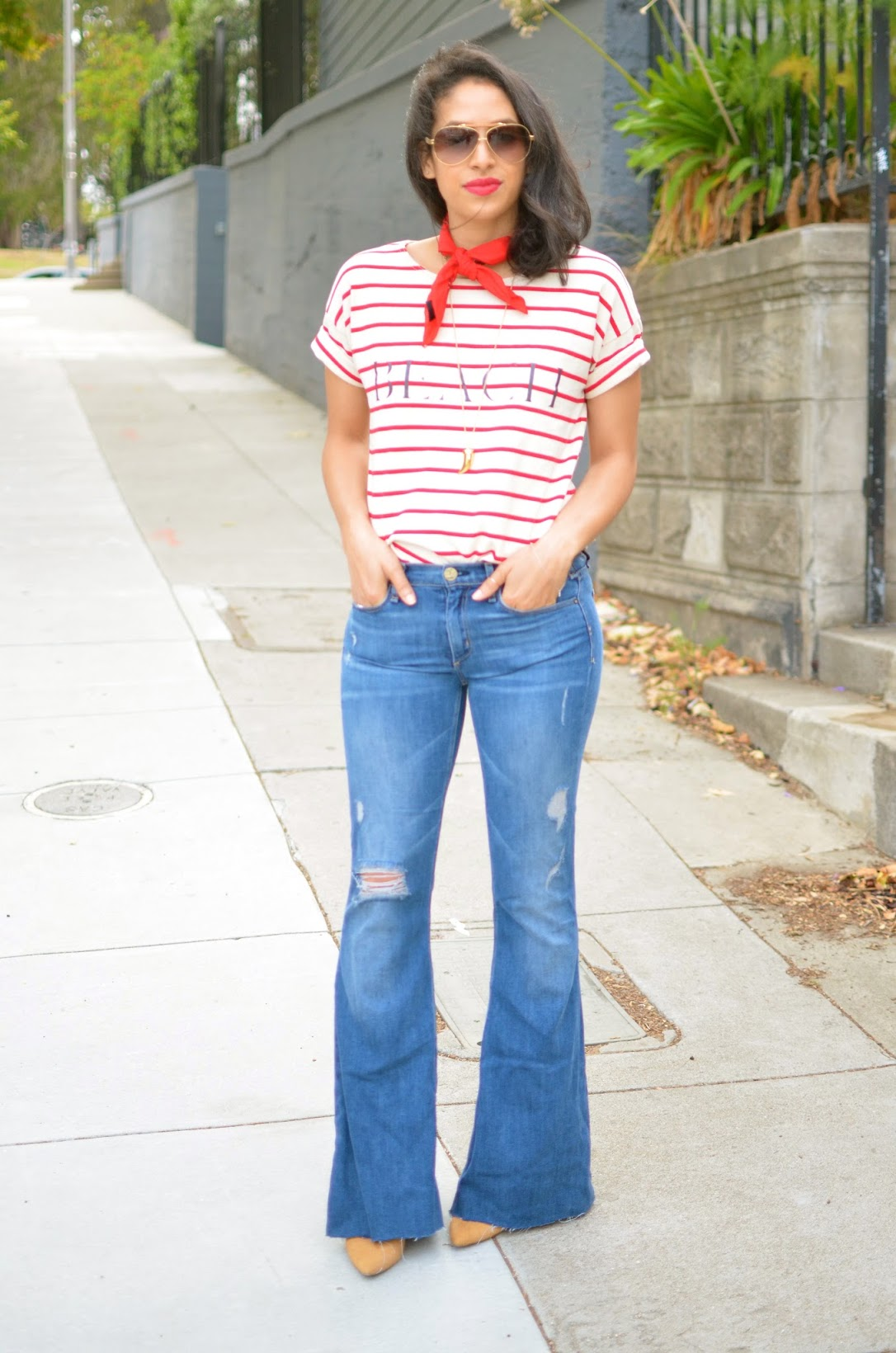 striped top, red and white brenton stripe top, McGuire flares, Majorelle flares, McGuire Majorelle flares, classic french look, bandana trend, fresh blowout, curly to straight hair