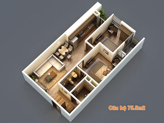 Thiết kế căn hộ 75,5m2 chung cư HP Landmark Tower