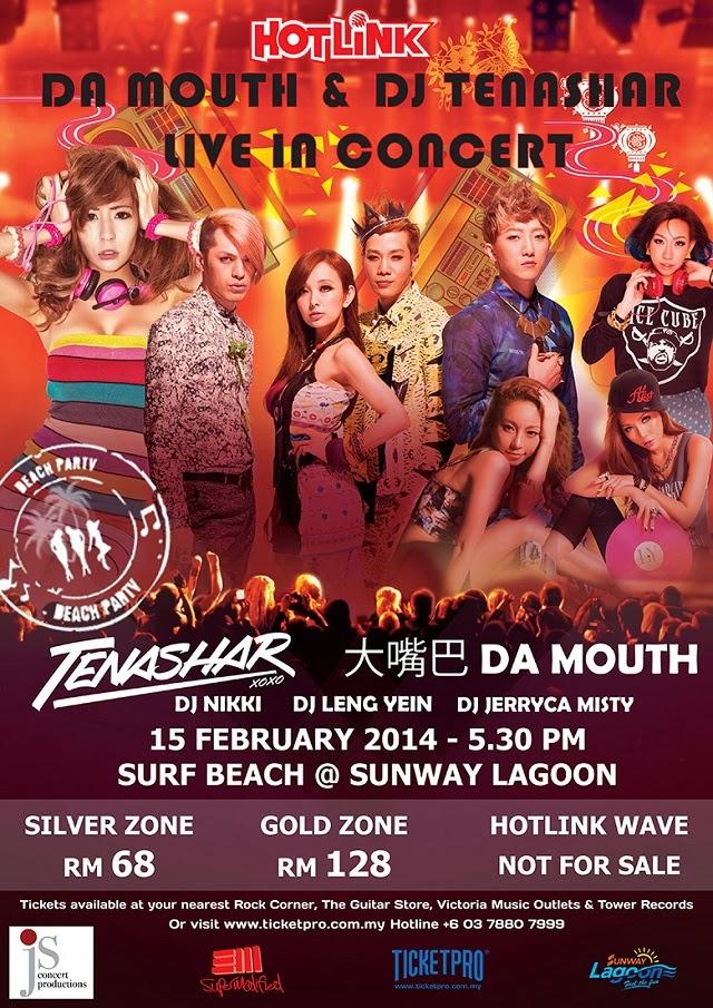 VIP Tickets Giveaway To Hotlink 4G Da Mouth & DJ Tenashar Concert Sunway Lagoon