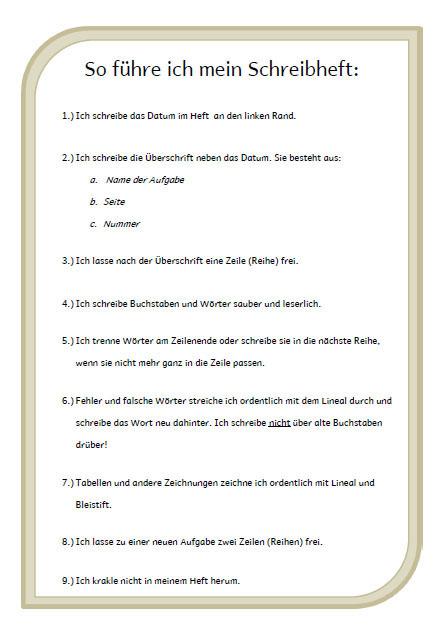 Arbeitsblatt Präpositionen Regeln : Regeln zur heftführung kleinkram wahnsinnsklasse