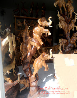 Wooden Elephants Bali Carvings