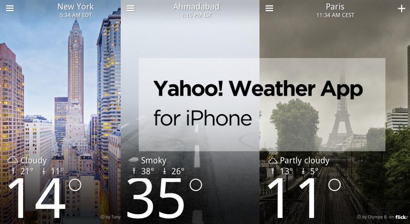 Yahoo Weather app on Android and iOS