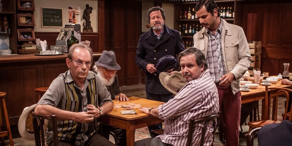 José Wilker, Pietro Mario, Joaquim de Almeida, Zeca Cenovicz e Munir Kanaan em O DUELO