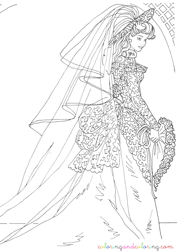 Barbie wedding coloring pictures