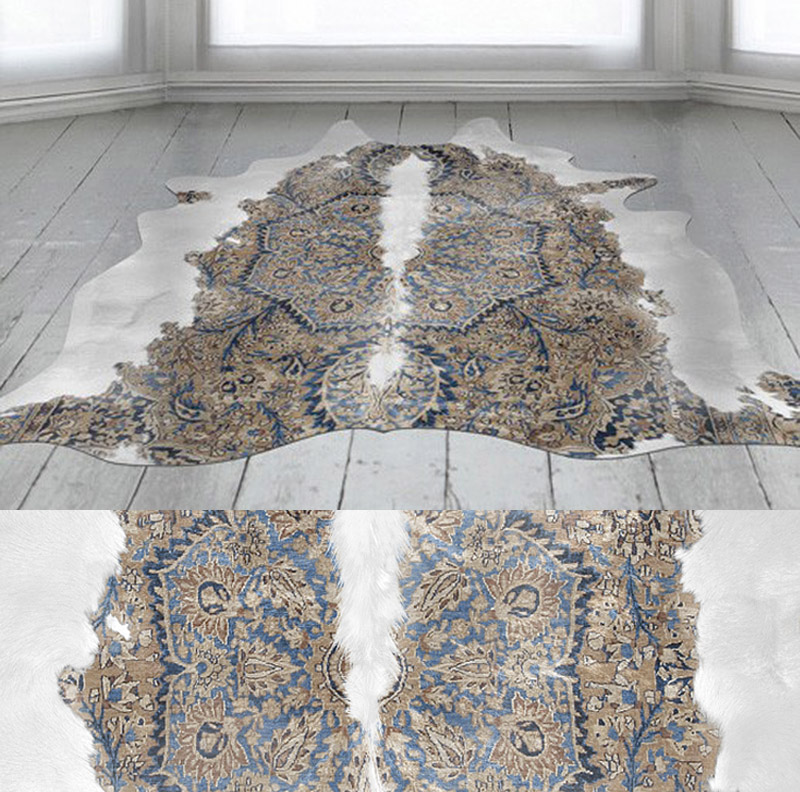 Unusual and beautiful area rugs combine art and faux for Accent rug vs area rug