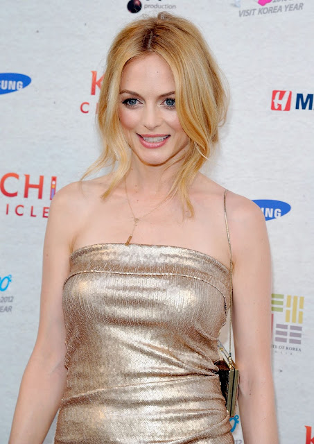 Heather Graham In Gold Ombre Sequin Donna Karan At Kimchi Chronicles Launch Party