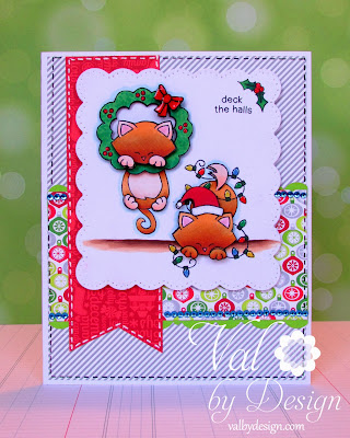 Holiday kitty card by Valerie Ward using Newton's Holiday Mischief stamp set