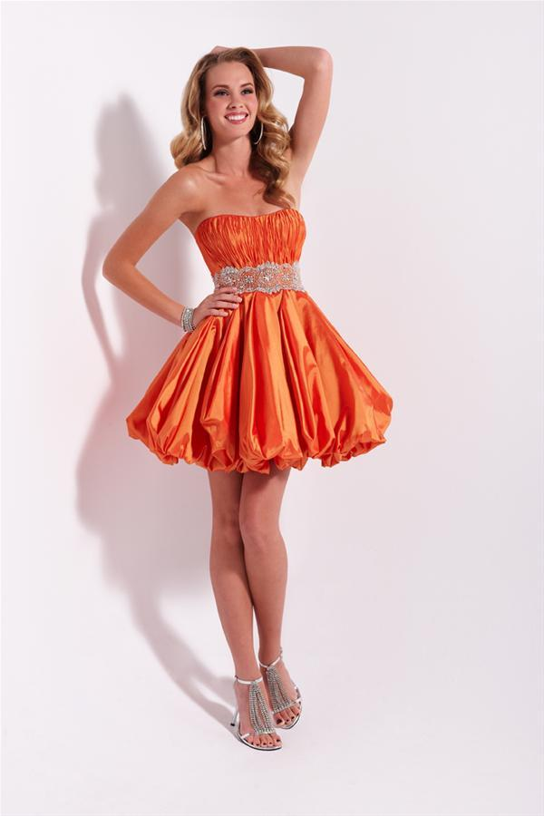 Robe de cocktail courte orange