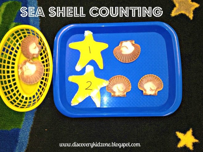 Sea Shell Counting (Photo by Rachel from Discovery Kidzone Montessori Adventures at PreK + K Sharing)