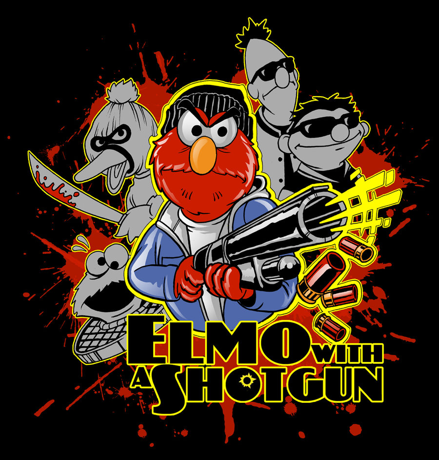 In The Mouth Of Dorkness: Dork Art: Elmo With A Shotgun
