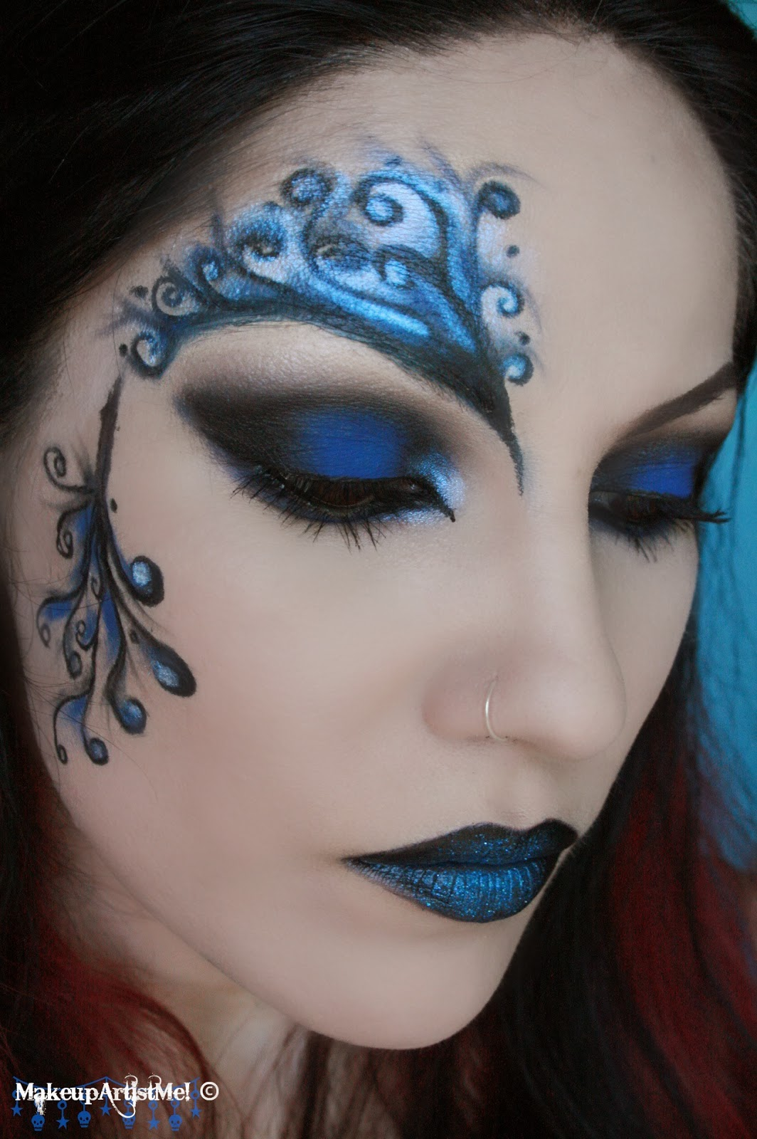 Make up Artist Me!: Blue Secret blue masquerade makeup - Blue Halloween Makeup