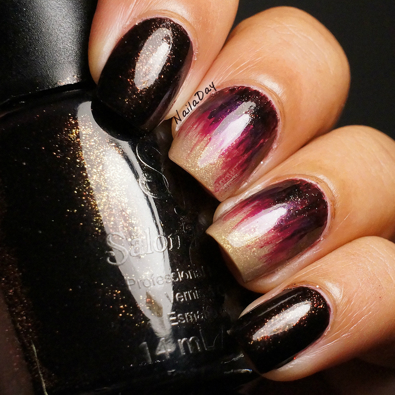 NailaDay: Salon Perfect Brown Sugar with brush stroke accent nails