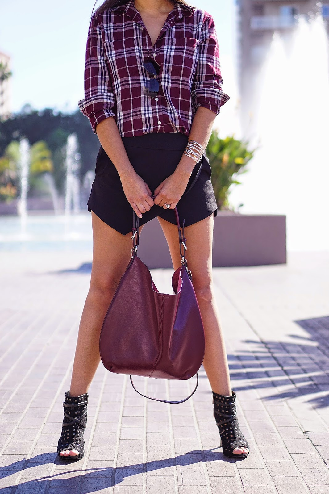 Joe Fresh Plaid Shirt, JCPenney Plaid Shirt, Forever 21, Black Skort, Asymmetrical black Skirt, Open toe Booties, Fall Fashion, TJ Maxx Purse, Black Booties