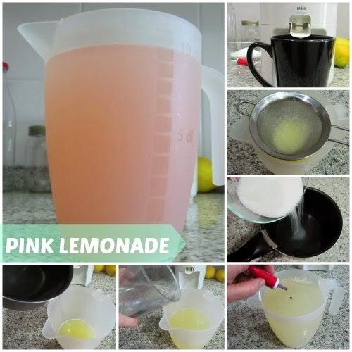 Pasos para preparar una limonada rosa casera