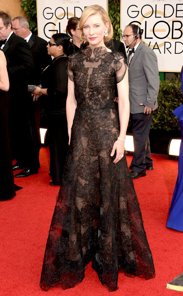 Cate Blanchett in a black lace Armani dress at the 2014 Golden Globe Awards