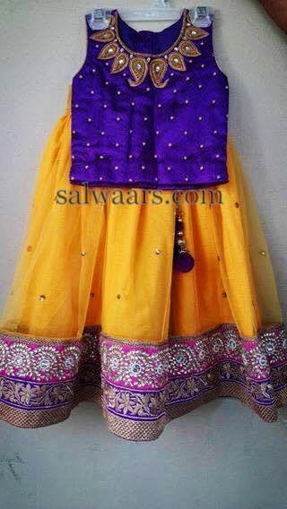 Yellow Purple Maggam Work Skirt