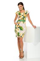 Rochie din in cu imprimeu floral deosebit