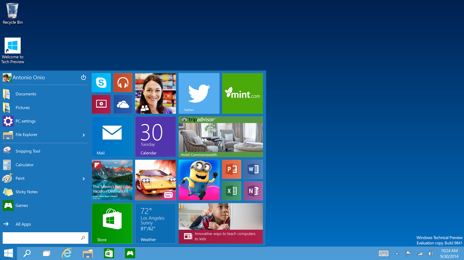 Windows 10 Technical Preview / Versi Demo / Trial