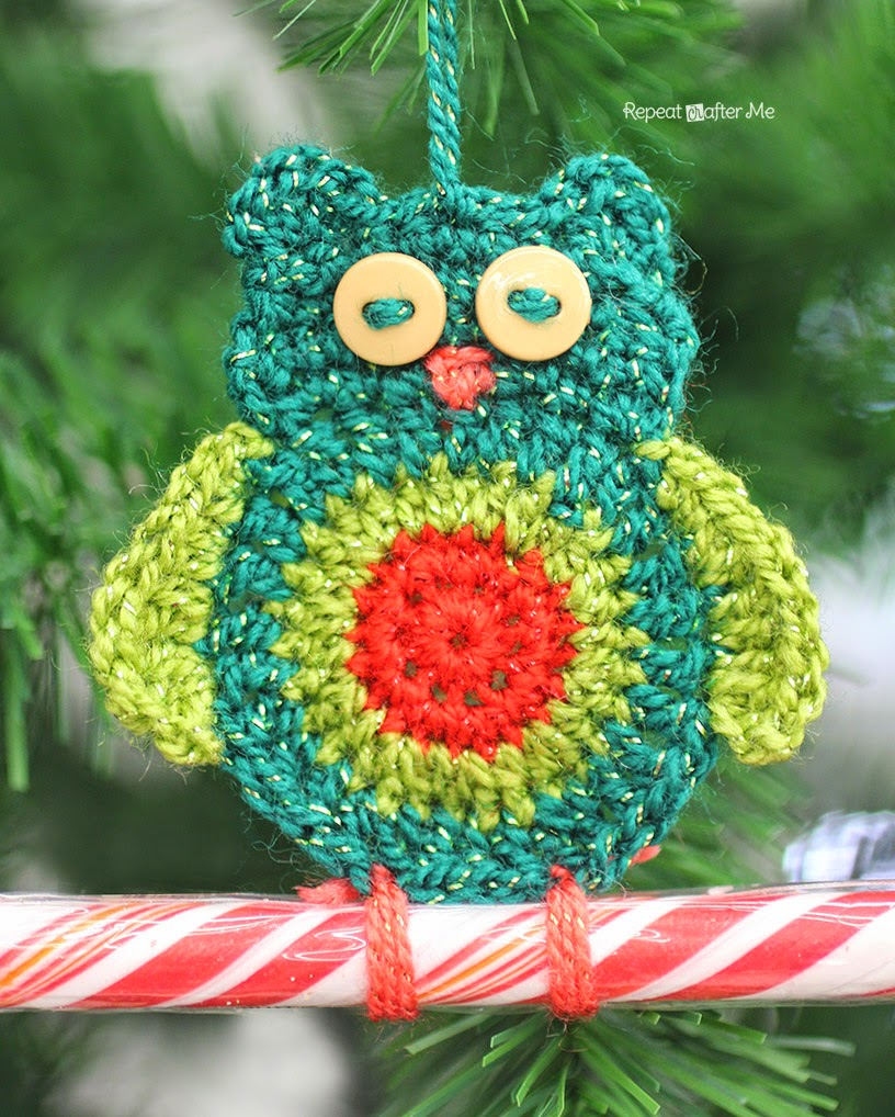 Repeat Crafter Me Crochet Owl Candy Cane Ornaments