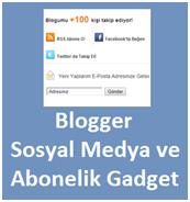 Blogger Sosyal Medya ve Abonelik Gadget