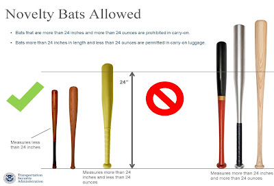 Novelty Bats Allowed &#8226; Bats that are more than 24 inches and more than 24 ounces are prohibited in carry - on. &#8226; Bats more than 24 inches in length and less than 24 ounces are permitted in carry - on luggage.