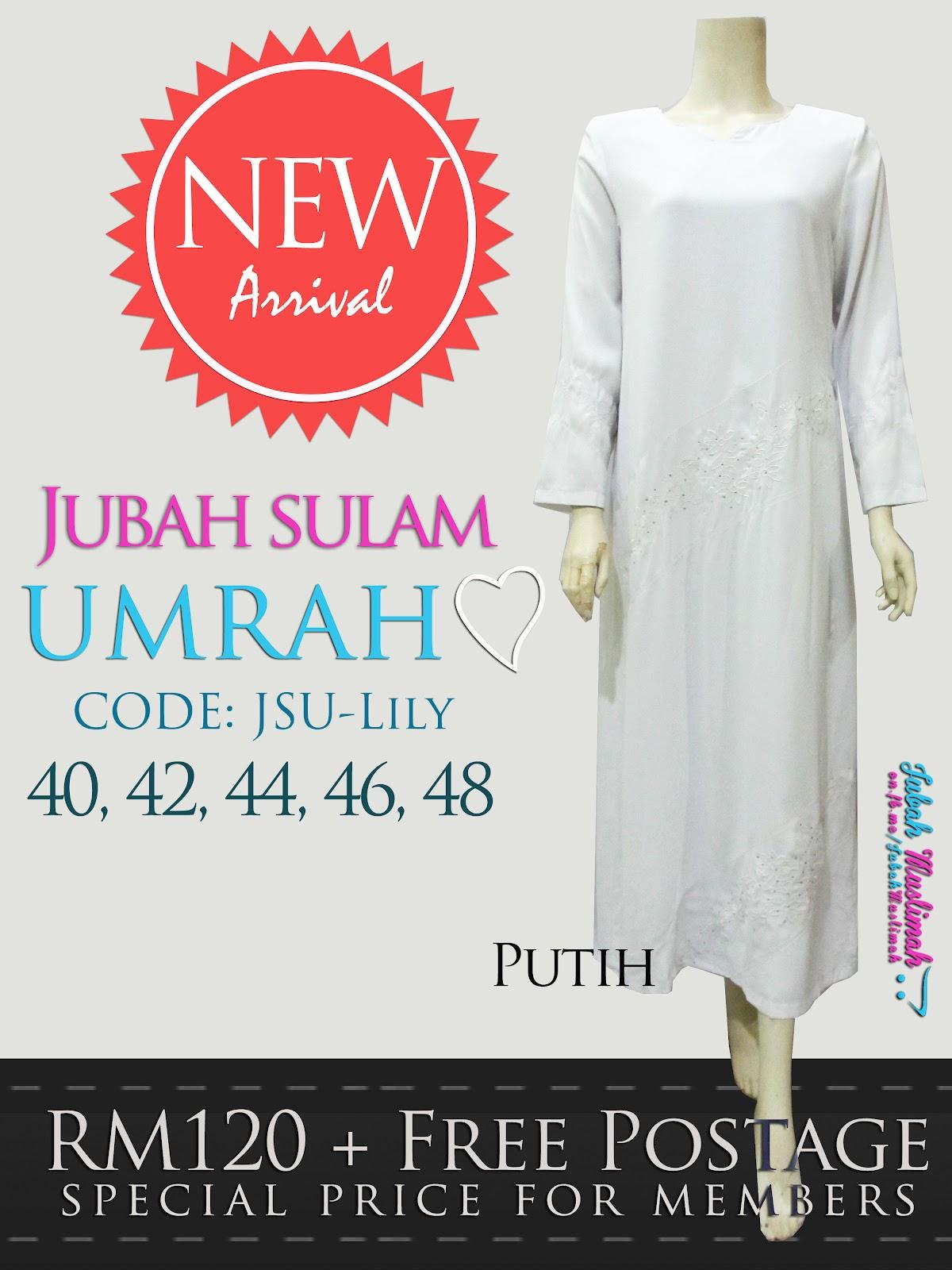 Jubah Umrah Lily Putih & Hitam, Limited Stock ^_^