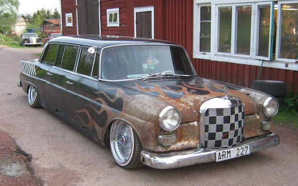Pimped out Mercedes rat rod low rider art car