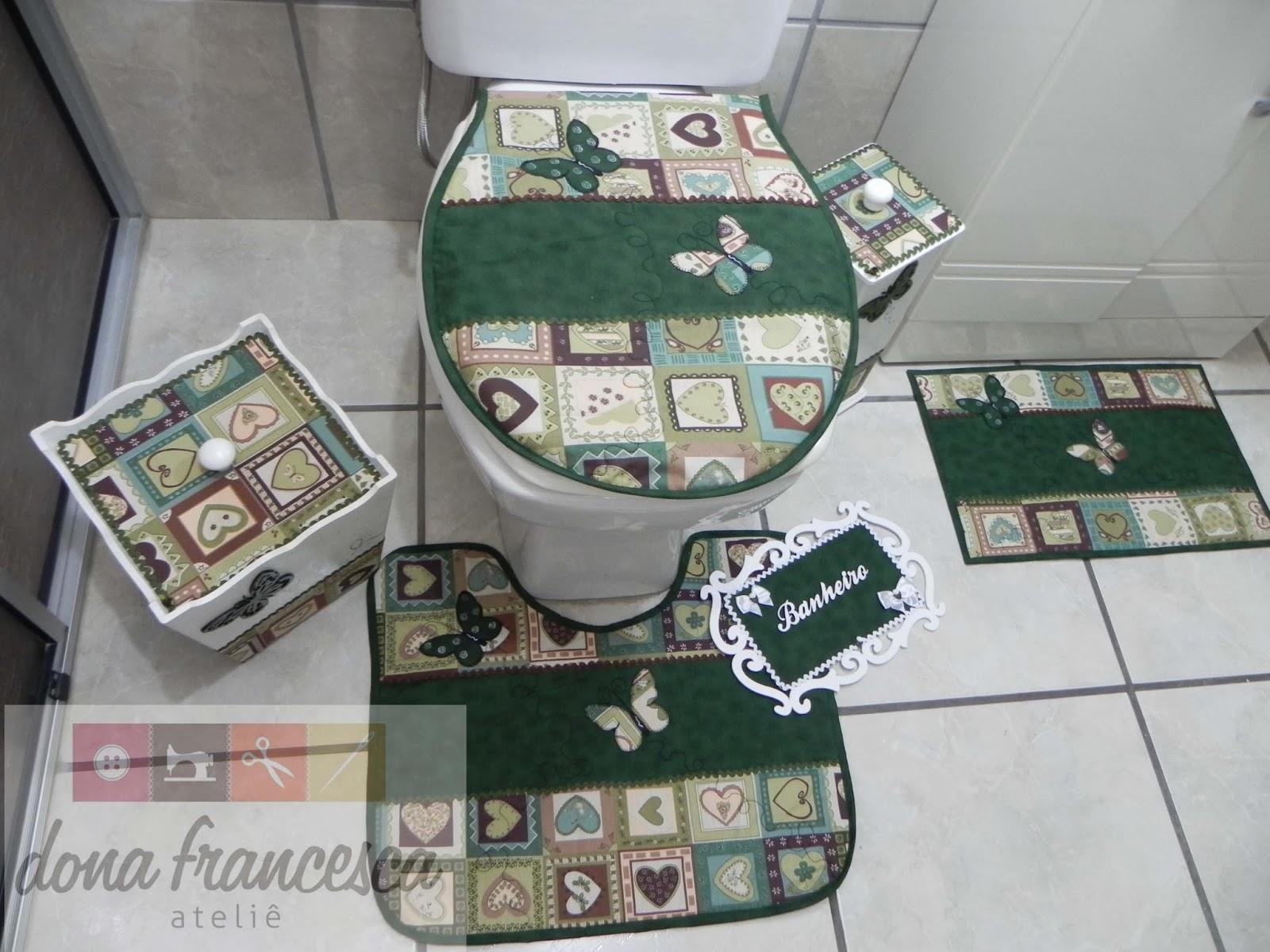 decorar banheiro jogos:Dona Francesca Ateliê: Jogo de banheiro completo! Placa provençal