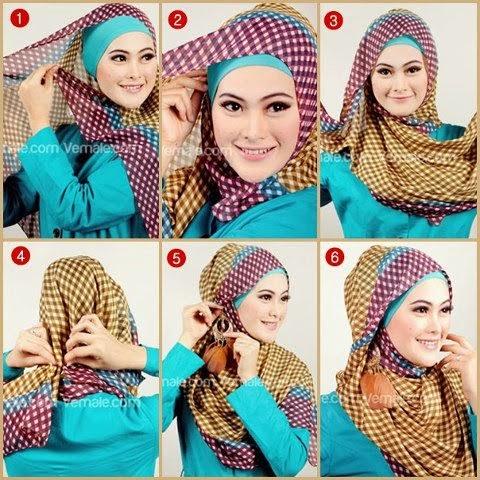 cara jilbab segi empat kreasi modern