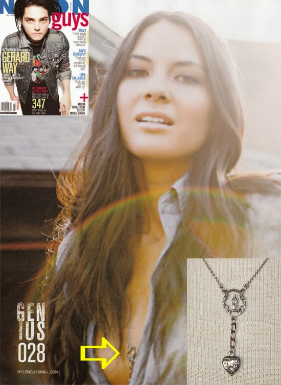 Olivia Munn wearing a Jenny Dayco necklace in Nylon guys magazine