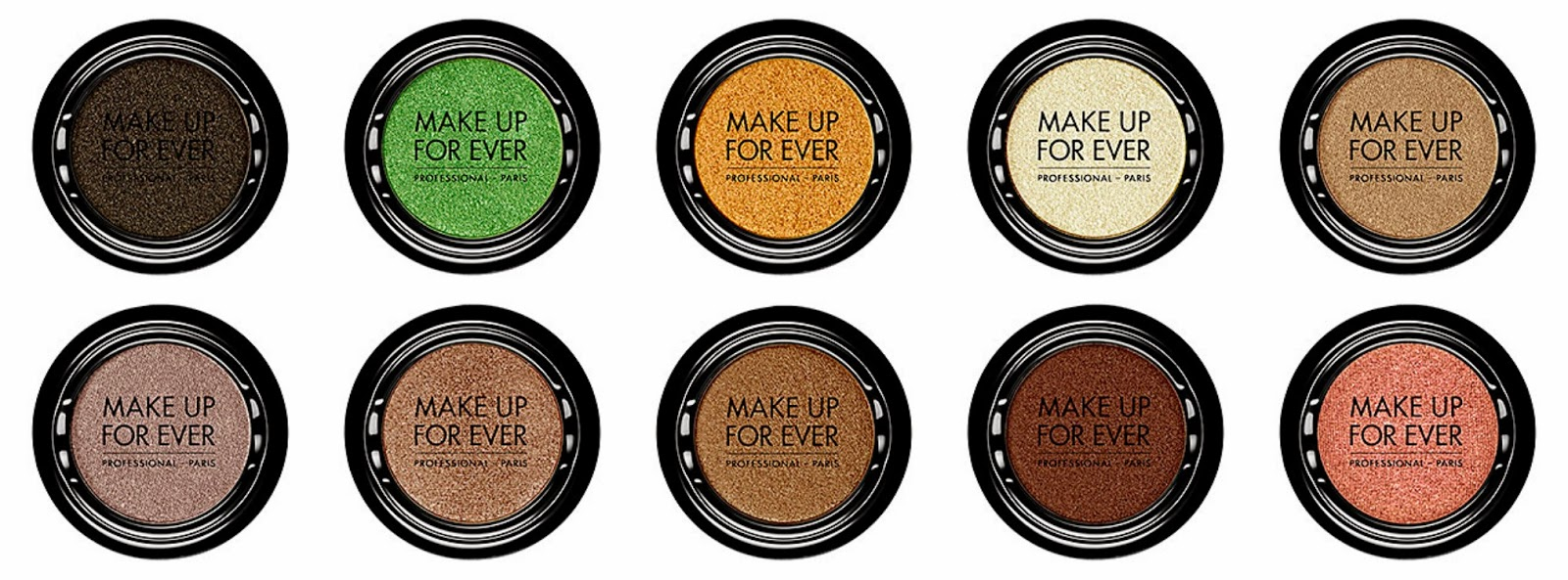 Make Up For Ever Artist Shadow Top from left: D326 Black Bronze; D334 Apple Green; D410 Gold Nugget; D416 Crystalline Yellow; D504 Celestial Beige  Bottom from left: D552 Crystalline Gray Beige; D562 Taupe Platinum; D640 Golden Snake; D652 Celestial Earth; D-708 Pinky Copper