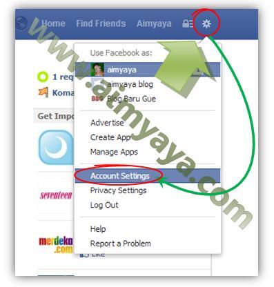Gambar: Mengedit / setting akun facebook