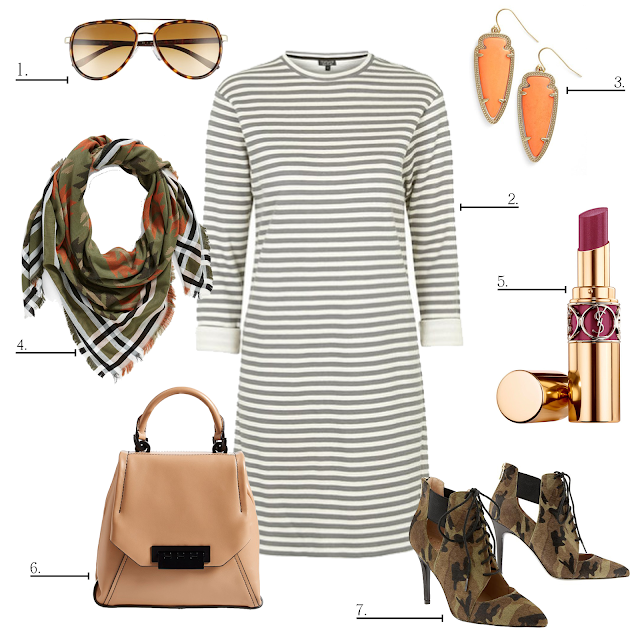 topshop stripe sweater dress, banana republic Daphne Shootie camo, pattern mixing, nordstrom BP southwestern scarf, fall colors